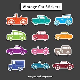 Collezione di adesivi colorati retro automobile