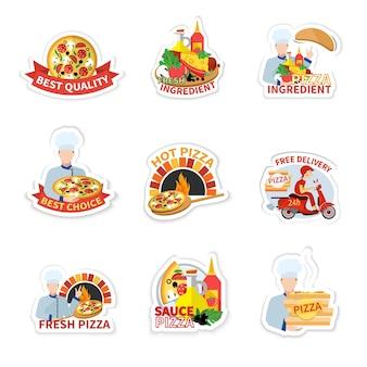 Collezione di adesivi della pizza