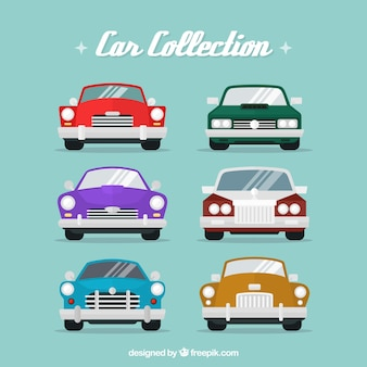 Collezione di auto d'epoca in prospettiva frontale