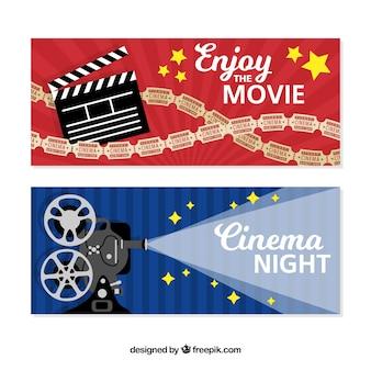 Collezione di banner notturni cinematografici