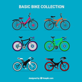 Collezione di biciclette moderne in design piatto