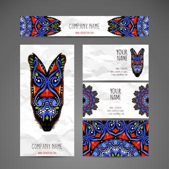 Collezione di biglietti da visita in stile etnico Disegna a mano