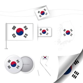 Collezione di cancelleria con la bandiera della Corea del Sud idesign