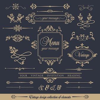 Collezione di design di stile vintage ornamentale