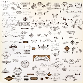 Collezione di elementi decorativi
