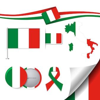 Collezione di elementi di cancelleria con la bandiera del design italiano