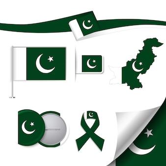 Collezione di elementi di cancelleria con la bandiera del design pakistano