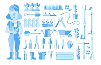 Collezione di elementi di giardinaggio blu
