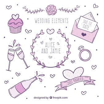 Collezione di elementi di nozze in toni viola