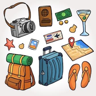 Collezione di elementi di viaggio colorati