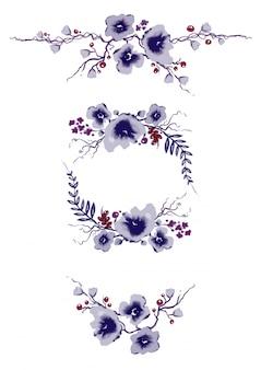 Collezione di elementi floreali viola