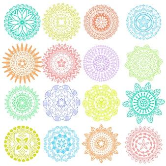 Collezione di elementi luminosi geometrici colorati brillanti etnici decorativi Mandala vettore