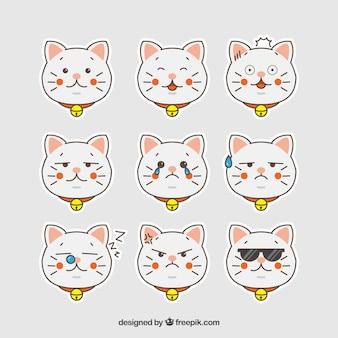 Collezione di emoticon di gatto disegnati a mano