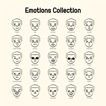 Collezione di emozioni del viso del ragazzo