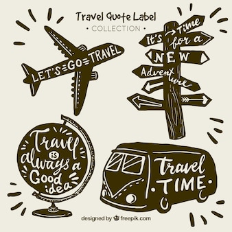 Collezione di etichetta quote quote di viaggio vintage
