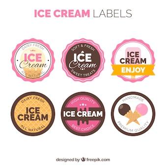 Collezione di etichetta vintage di gelato
