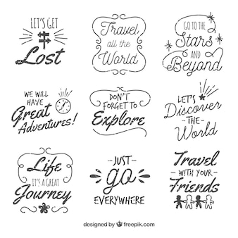 Collezione di etichette di viaggio