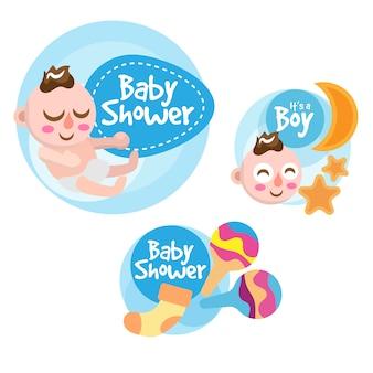 Collezione di etichette per doccia baby