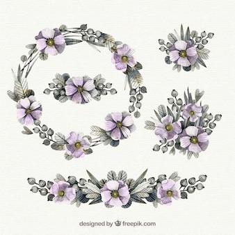 Collezione di fiori di acquerello