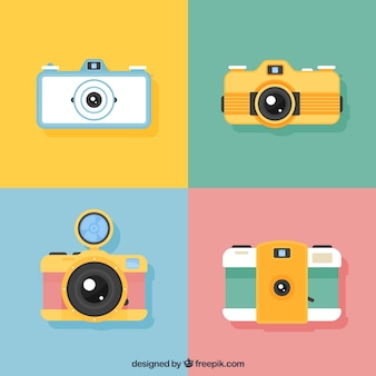 Collezione di fotocamere moderne di design piatto