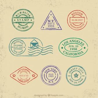 Collezione di francobolli colorati di viaggio