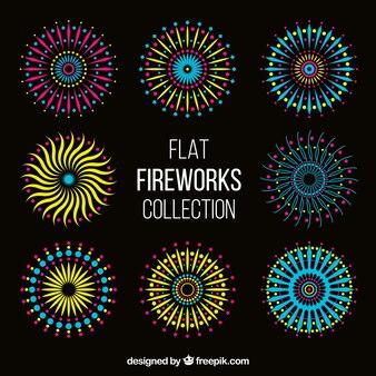 Collezione di fuochi d'artificio piatti