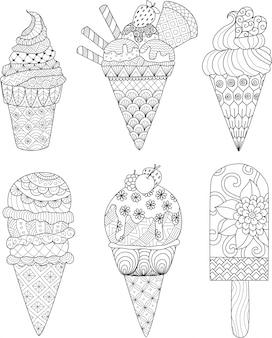 Collezione di gelato per disegnare a mano
