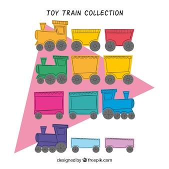 Collezione di giocattoli treno in design piatto