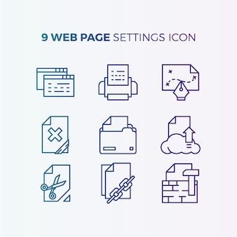 Collezione di icone delle impostazioni del sito web