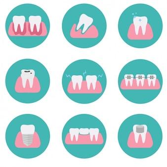 Collezione di icone di denti