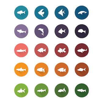 Collezione di icone di pesce