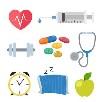 Collezione di icone di salute