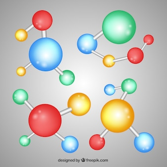 Collezione di molecole multicolori