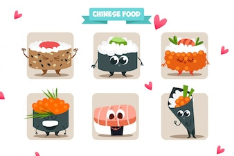 Collezione di personaggi di sushi