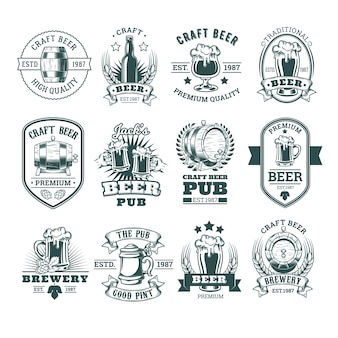Collezione di retro emblemi di birra, badge, adesivi