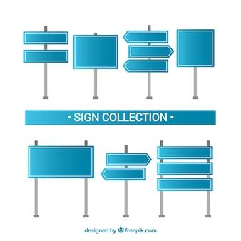 Collezione di segni blu