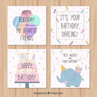 Collezione disegnata a mano Birthday Cards