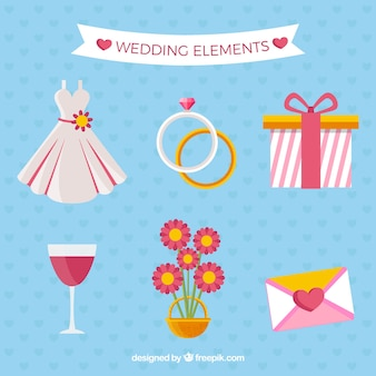 Collezione fantastica di oggetti di nozze piatti