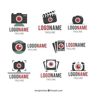 Collezione logo della fotocamera a luce rossa