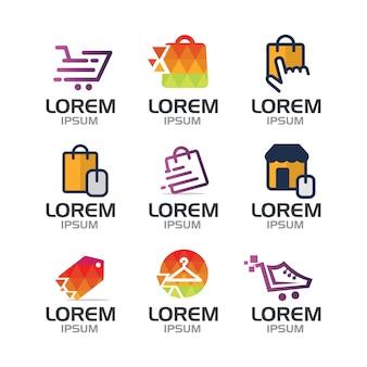 Collezione logo di shopping