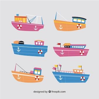 Collezione multicolore di imbarcazioni
