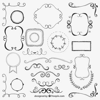 Collezione ornamenti disegnati a mano