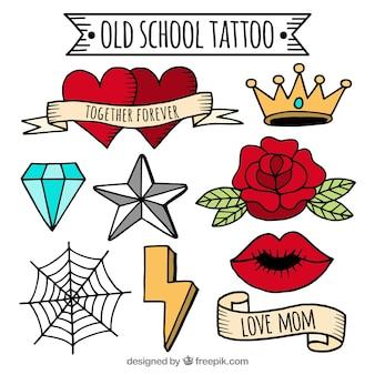 Collezione tatuaggio vecchia scuola a mano colorata disegnata a mano