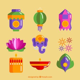 Colorati elementi di diwali