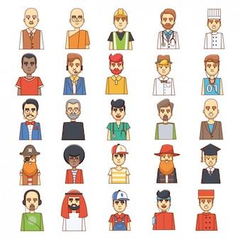 Colorati uomini avatars disegno
