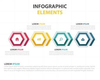 Colorato astratto esagono modello di business infografica