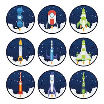 Colorato astronavi collezione