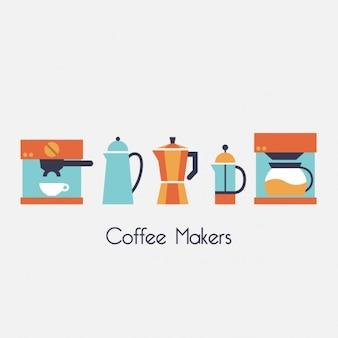 Colorato disegno macchine per il caffè
