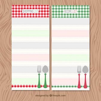Colorato liste della spesa di raccolta scaricare vettori for Lista utensili da cucina
