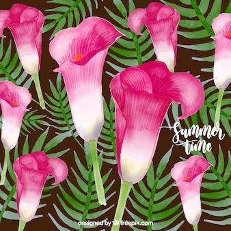 Colore dell'acqua sfondo tropicale fiore tempo d'estate